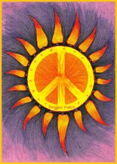 American Hippie Art - Peace Sign Sun More