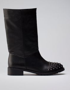Bershka Hungary - BSK Leather studded toe boots