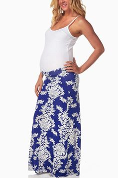 Blue-White-Printed-Maternity-Maxi-Skirt