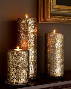 Beautiful candles gold/copper metallic toned candles by jannyshere Gold Candles, Best Candles, Diy Candles, Scented Candles, Pillar Candles, Holiday Candles, Bougie Candle, Candle In The Wind, Light In