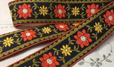 Vintage Ribbon Trim  Embroidered Ribbon Trim  Flat Trim. #specialTweek