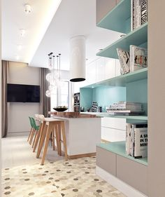 Small apartment 45 sq.m. on Behance #kitchen #turquoise
