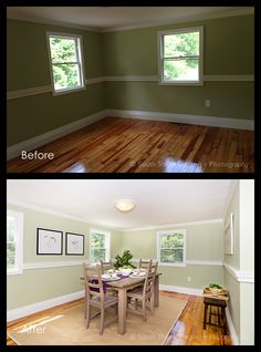 Before and After - Dining Room Real Estate Photography, Beautiful Space, Staging, Dining Room, Places, Inspiration, Role Play, Biblical Inspiration, Dining Rooms