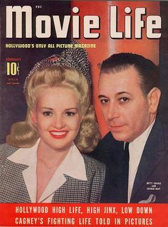 Betty Grable and George Raft on the cover of Movie Life magazine, February 1942, USA.