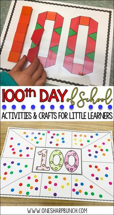 Celebrate the 100th Day of school with these engaging 100th Day of School ideas, including 100th Day Pattern Blocks, 100th Day Sticker Mat, and MORE!