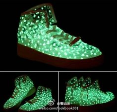 ADIDAS,Glow in the dark, wing, Glitter,fashion creative shoes