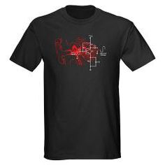 This is by far my best selling shirt image. It is called Signal to Noise, and is a juxtaposition of a cross-section of the human ear and a schematic of a single transistor audio amplifier circuit. One of my original three series of shirt images on cafepress. $25.99