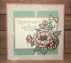 Happiest Birthday | Stampin' Up! | Birthday Blooms | Watercooler Wednesday Challenge #WWC53 #literallymyjoy #birthday #flowers #fussycutting #2016OccasionsCatalog