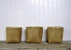 set of three burlap baskets burlap basket by JenniferHeleneHome