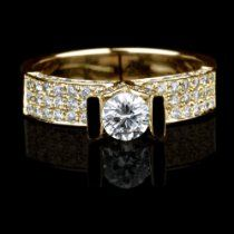 Holyland-2 C DIAMOND SOLITAIRE ACCENTS PROMISE RING 18K Y G GOLD
