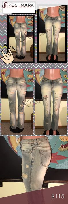 """Rare MISS SIXTY Tommy Destroyed Denim Jeans 30 The deal with these jeans is they were very expensive, bought before kids, and tags were removed. I never wore them! After kids...do not fit on my stomach. You just can't find this style, I do not want to part but will for the right price. Size 30 in a washed very light blue denim with bootcut. The style/cut is Tommy. 15.5"""" across waist, 9"""" rise, and 33"""" inseam. Ask me anything, I ship daily! ❤️ Miss Sixty Jeans Boot Cut"""