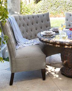 Tufted Outdoor Banquette- Granite