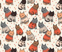 cats in sweaters // holiday christmas sweater ugly sweater illustration pattern for fashion textiles and wallpapers fabric by andrea_lauren on Spoonflower - custom fabric Fall Patterns, Textures Patterns, Print Patterns, Fabric Patterns, Cat Pattern, Pattern Art, Pattern Design, Pattern Wallpaper, Fabric Wallpaper