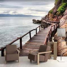 Fotomurales: Pasarela junto al mar