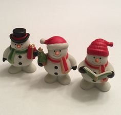 Vintage Frosty Friends Snowmen, Snowman with Tree, Snowman with Present, Snowman Caroler, Home Interiors Figurines by EastWestVintage1 on Etsy
