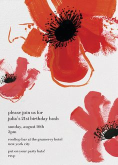 """Red Poppies"" Invitation, by Kate Spade, Paperless Post"