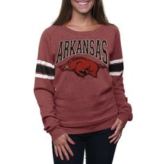 Arkansas Razorbacks Ladies Slouchy Pullover Sweatshirt - Cardinal