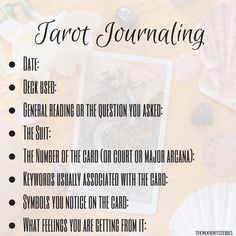 Tarot for beginners: Tarot journaling!Just a little cheat sheet to help you organize your tarot journal! You can even draw a little, use colors expressing how the card makes you feel, be artsy. Or...