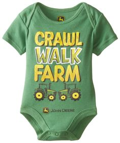 John Deere Baby-Boys Newborn Crawl Walk Farm Bodyshirt, Green, 3 Months