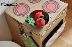 DIY, make a play kitchen from cardboard boxes, free stickers, free printables