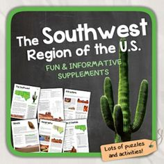 Lets learn about the Southwest Region of the United States!This worksheet includes 12 pages with a great variety of activities and exercises about the Southwest Region. Word searches, Cross words, puzzles and other kinds of activities are included to make it a fun and interesting class.Overview:Page 1: Introduction of the 5 RegionsPage 2: Introduction of the Southwest RegionPage 3/4: GeographyPage 5: Climate & Natural DisastersPage 6: States & CapitalsPage 7: AttractionsPage 8/9/10: Quiz...