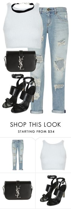 """Untitled #2683"" by elenaday ❤ liked on Polyvore featuring rag & bone, Topshop and Yves Saint Laurent"
