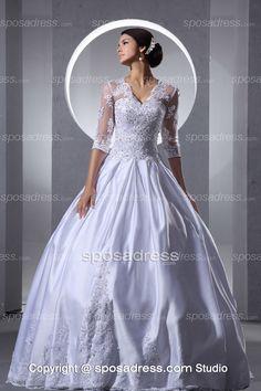 New Design V Neckline Huge Vintage Ball Gown Wedding Dress With Sleeves - Sposadress.com