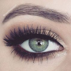 Pretty lighter smokey eye for a less intense look! Smudge bottom with brown eyeliner (we love Ilia's) and highlight inner eye with a bright gold eyeshadow - try Ilia's Silken Shadow Stick in In Between Days.
