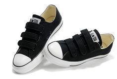 Velcro Converse All Star Black 3 Strap Low Tops Canvas Shoes [105043]