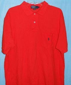 POLO RALPH LAUREN Men Polo Shirt Size XL Orange - Short Sleeve- Pocket Pony Logo