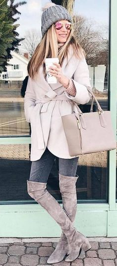 trendy winter outfit / hat + nude bag + coat + skinnies + over knee boots