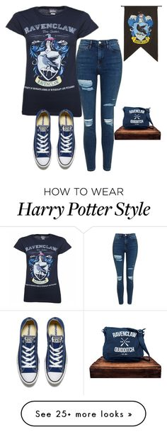"""Ravenclaw"" by brookemcm on Polyvore featuring Topshop, Rubie's Costume Co. and Converse"