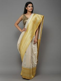 Off White Beige Yellow Handwoven Banarasi Tussar Silk Saree