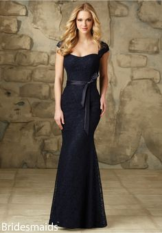 Bridesmaids Dresses Lace Satin Tie Sash. Zipper Back. Shown in Navy. Available in All Solid Lace Colors.