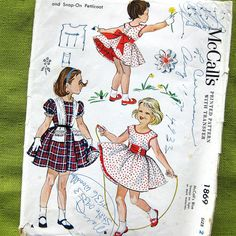 1950s Vintage Girls Full Skirt Dress Sundress by SelvedgeShop