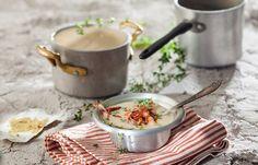 Σούπα κρέμα από φασόλι με μπέικον και θυμάρι