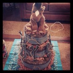 Western Themed Diaper Cake with baby's name