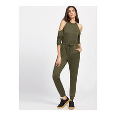 SheIn(sheinside) Olive Green Cold Shoulder Split Back Drawstring Waist... (£18) ❤ liked on Polyvore featuring jumpsuits, green, sexy long sleeve jumpsuit, long sleeve jumpsuit, long sleeve jump suit, sexy jump suit and sexy white jumpsuit