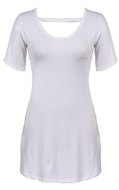 Meaneor Womens Short Sleeve Crew Neck Loose Basic High & Low Tunic Top White 1 M Meaneor http://www.amazon.com/dp/B00ZI0PA8E/ref=cm_sw_r_pi_dp_0SzYvb06JHCZC
