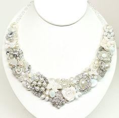 Pearl Bridal Bib Necklace Bridal Statement Necklace by BrassBoheme, $135.00