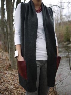 i love do it yourself: DIY des poches en cuir sur un gilet / DIY Leather pockets on a cardigan