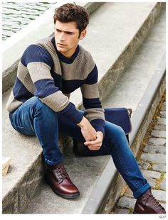 Men's casual style | Sean O'Pry for the Fall Winter 2014-2015 Campaign of Next