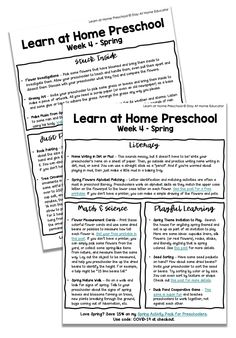 Free Printable Learn At Home Preschool Lesson Plans - Stay At Home Educator - Education interests Educational Activities For Preschoolers, Preschool Activities At Home, Homeschool Preschool Curriculum, Preschool Lesson Plans, Preschool Printables, Free Preschool, Homeschooling, Free Printables, Spring Activities