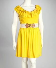 Take a look at this Allison Brittney Yellow Bumble Belted Plus-Size Sleeveless Dress by Allison Brittney on #zulily today!