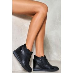 Nasty Gal Aim High Wedge Sneaker ($60) ❤ liked on Polyvore featuring shoes, sneakers, black, black wedge sneakers, black trainers, black wedge shoes, black sneakers and black shoes