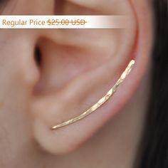 Ear Climbers Earrings x2 Ear Climber Gold Ear Pins Climber Earrings Ear Crawlers Earrings Pin Gold Earrings Earring Pins (18.75 USD) by Benittamoko
