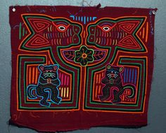 Delightful Panamanian Mola with Two Cats