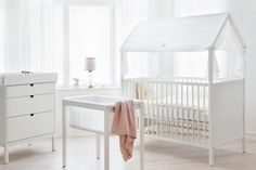 """The Scandinavian company Stokke Home has created a nursery set perfect for any household, big or small. Your dollhouse is expandable, complete with setups for both newborns and toddlers. Each item has both a compact and expanded version, allowing you to use as little or as much space as possible."" BRIT + CO"
