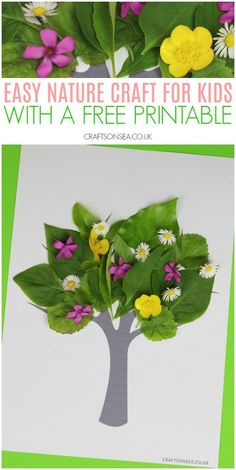 Tree Nature Craft for Kids with Free Printable - Cool Crafts and Activities for Kids - Simple nature craft activity for kids to make with a free printable - Camping Crafts For Kids, Summer Crafts For Kids, Spring Crafts, Toddler Crafts, Crafts For Teens, Art For Kids, Nature For Kids, Kids Nature Crafts, Simple Crafts For Kids