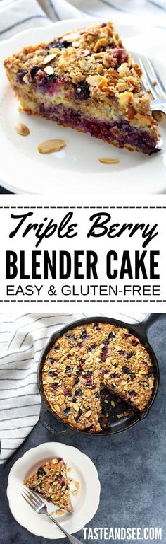 Triple Berry Blender Cake: gluten-free, super moist, fruit filled, delicious skillet cake that's ridiculously easy to make!  http://tasteandsee.com